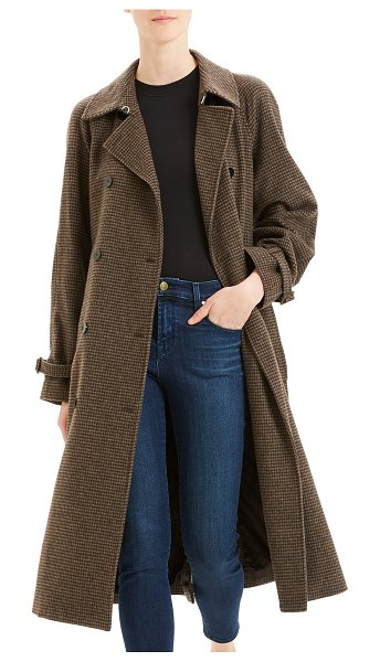 Theory Classic Houndstooth Trench Coat in brown multi