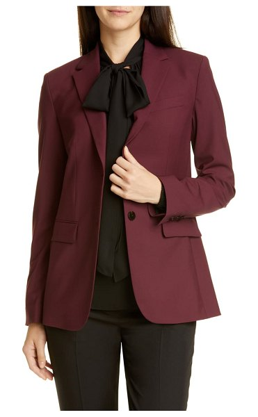 Theory classic stretch wool jacket in mulberry