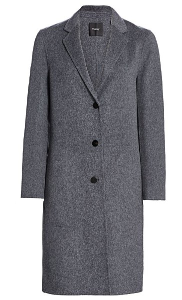 Theory classic double-faced wool coat in dark grey melange