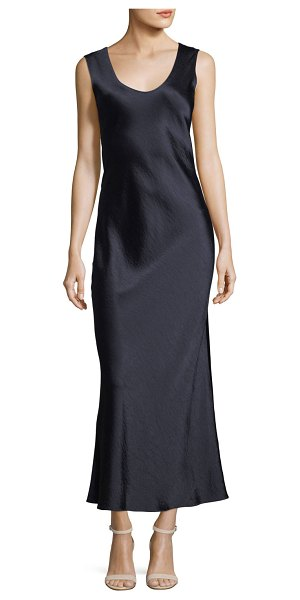 3dfd4c7c273 Theory Cowl-Back Sleeveless Double-Sateen Midi Dress in Blue | Shopstasy