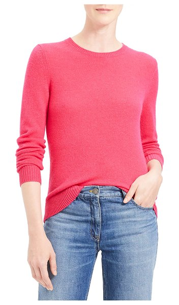 Theory Crewneck Cashmere Sweater in bright magenta