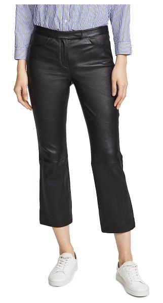 Theory crop leather pants in black