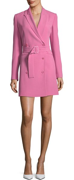 4bae240e61 Theory Double-Breasted Belted Admiral Crepe Blazer Dress in Pink ...