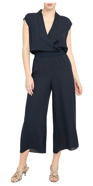 Theory drape silk jumpsuit in deep navy