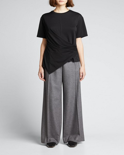 Theory Draped Cotton Tee in black