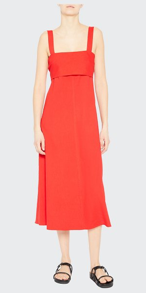 Theory Eco Crunch Tie-Back A-line Dress in scarlet