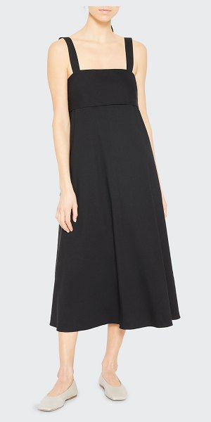 Theory Eco Crunch Tie-Back A-line Dress in black