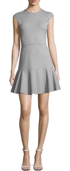 "Theory Essential Flare Cap-Sleeve Ponte Mini Dress in gray - Theory ""Essential Flare"" dress in heathered Fixture..."