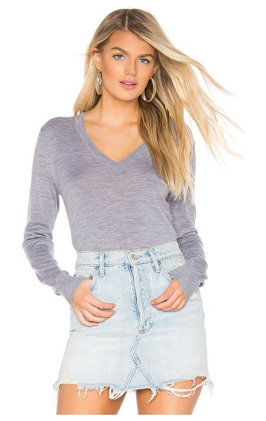 Theory Foundation V Neck Sweater in gray - 96% wool 4% other fibers. Dry clean only. Rib knit trim....