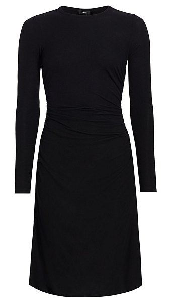 Theory gathered-waist knit dress in black
