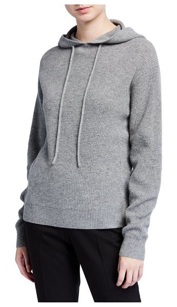 Theory Hooded Cashmere Pullover Sweater in husky