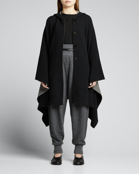 Theory Hooded Double-face Wool-Cashmere Poncho in blackgrey melange