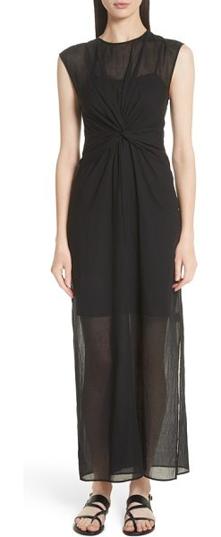 Theory Knot Front Maxi Dress In Black Shopstasy
