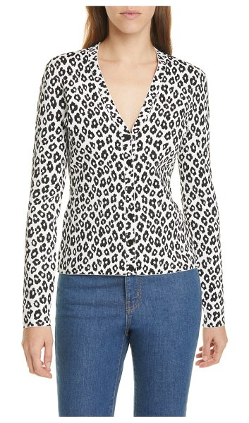 Theory leopard print cardigan in ivory/ black