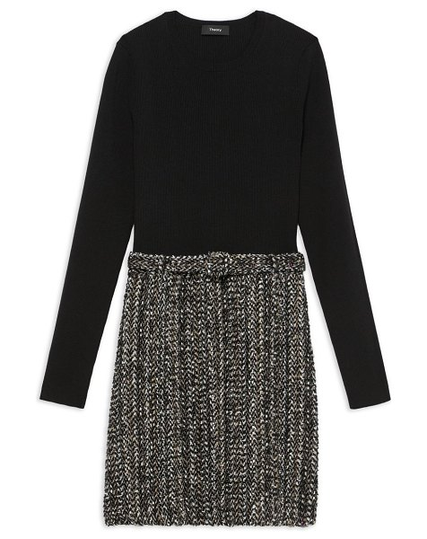 Theory long-sleeve ribbed combo knit dress in black multi