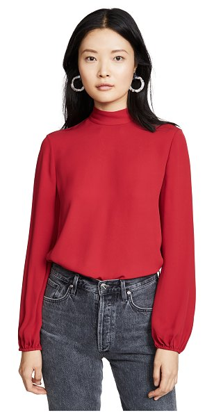 Theory mock neck top in crimson