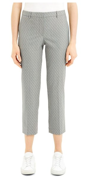 Theory Optical Wool Cropped Tailered Trousers in black ivory