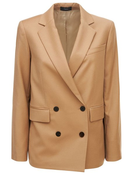 Theory Piazza double breasted wool jacket in beige