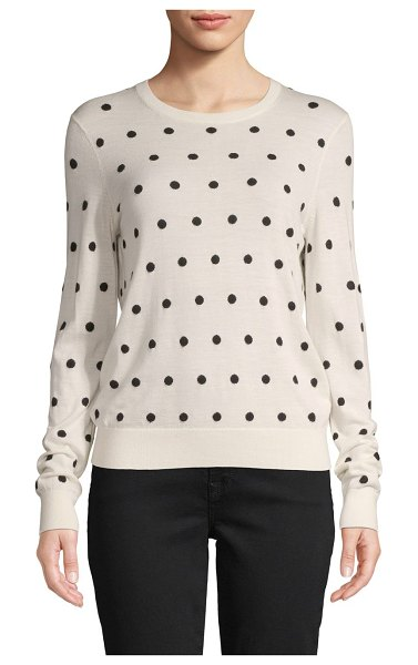 Theory Polka Dot Merino Wool-Blend Sweater in ivory black