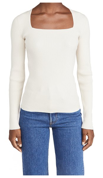 Theory portrait neck pullover in ecru