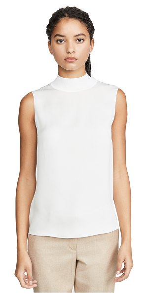 Theory rib neck silk shell in ivory