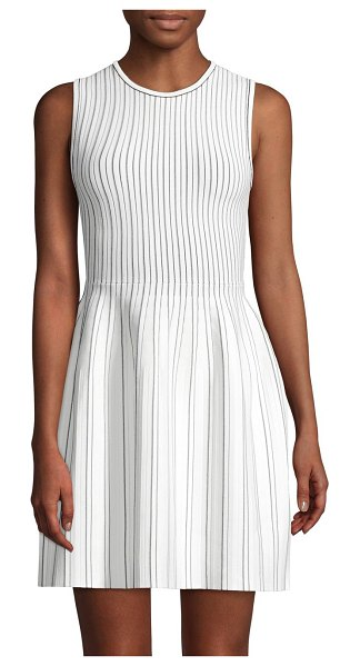 Theory Ribbed Sleeveless Dress in black white