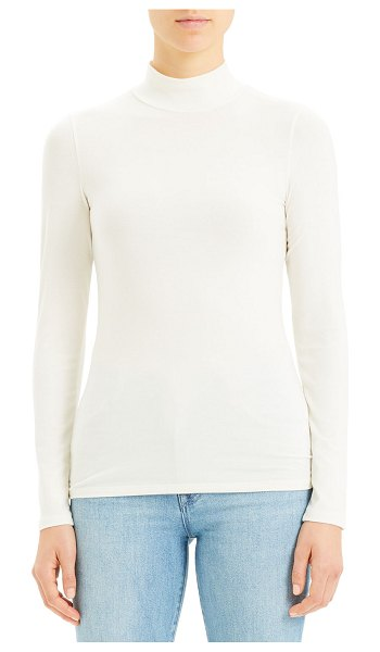 Theory Ribbed Viscose Turtleneck Top in white