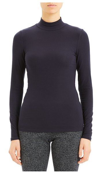 Theory Ribbed Viscose Turtleneck Top in blue