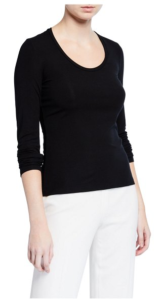 Theory Round-Neck Long-Sleeve Viscose Top in black