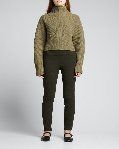 Theory Sculpted Wool-Cashmere Turtleneck Top in olive