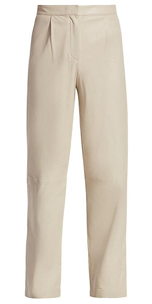 Theory shine leather pants in pale stone