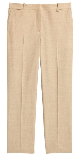 Theory Sleek Flannel Cropped Tailored Trousers in light camel melange