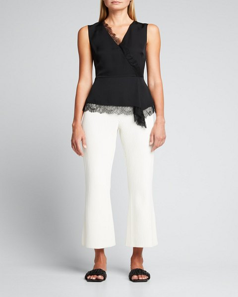 Theory Sleeveless Asymmetric Top with Lace in black