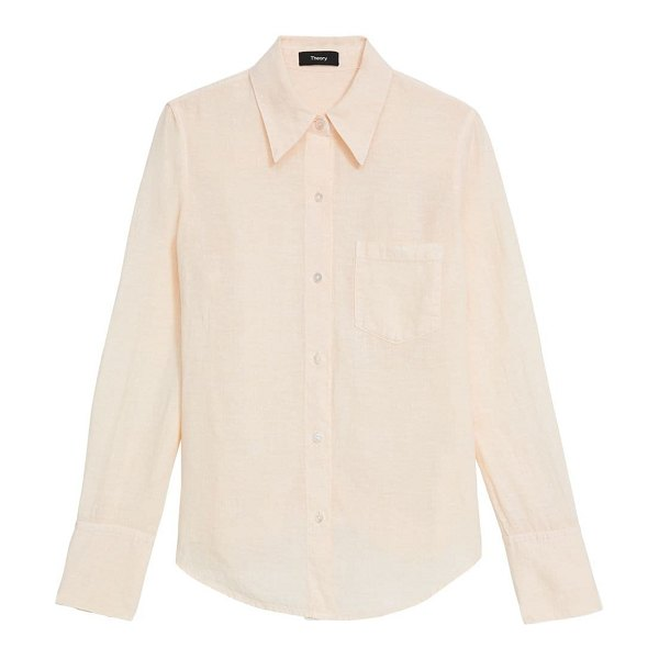 Theory slim collar button-down blouse in pale pink,white,black