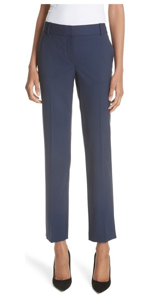 Theory straight leg stretch wool trousers in sea blue