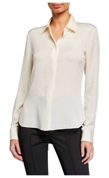 Theory Stretch Silk Classic Fitted Shirt in ivory
