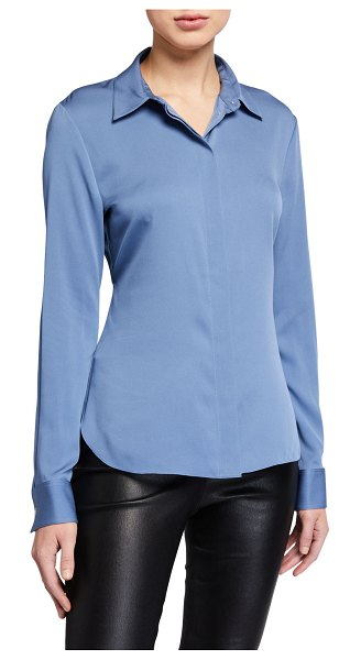 Theory Stretch Silk Classic Fitted Shirt in cornflower