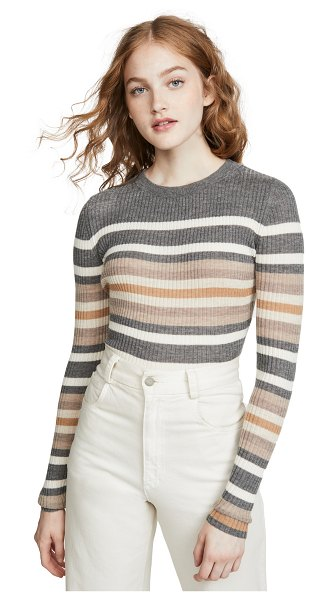 Theory stripe crew cashmere sweater in medium heather