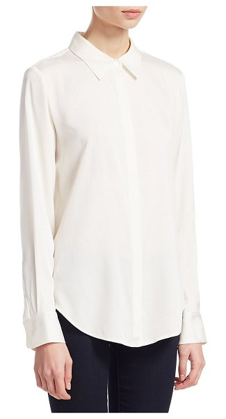 Theory sunaya silk blouse in ivory