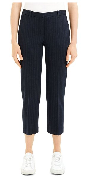 Theory Tailored Pinstripe Crop Trousers in blue