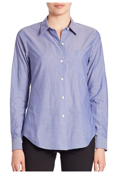 Theory the perfect cotton shirt in indigo