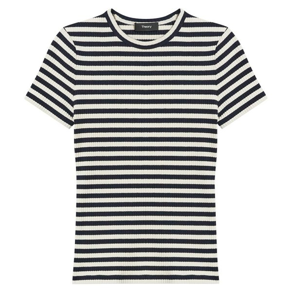 Theory tiny striped t-shirt in navy multi
