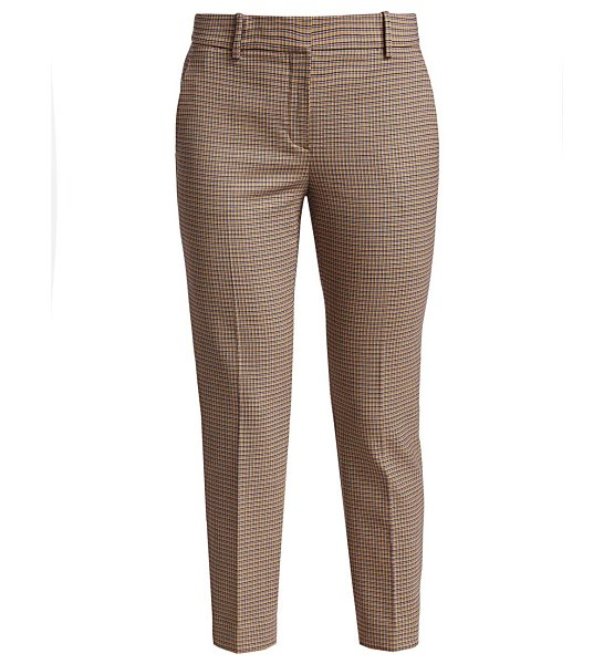 Theory treeca plaid crop stretch-wool trousers in neutral