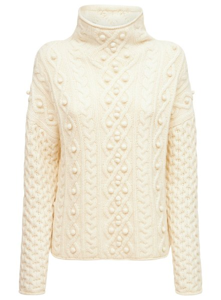 Theory Wool & cashmere cable knit sweater in ivory
