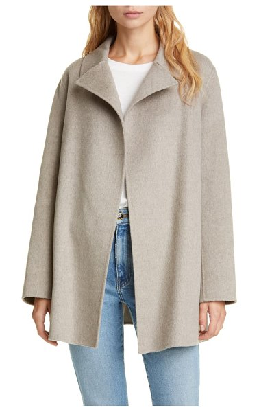 Theory wool & cashmere overlay coat in taupe grey
