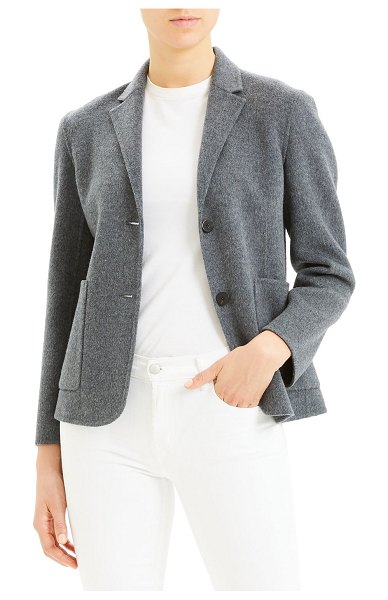 Theory Wool-Cashmere Shrunken Double-Face Two-Button Jacket in dark gray melange