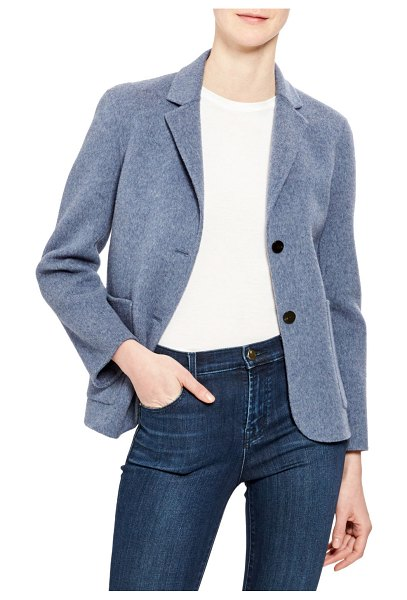 Theory Wool-Cashmere Shrunken Double-Face Two-Button Jacket in dark chambray