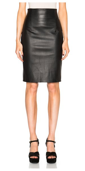 ThePerfext Amsterdam High Waisted Leather Skirt in black - 100% leather.  Made in USA.  Back zip closure.  Back slit.
