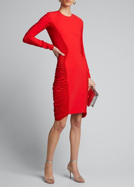 Mugler Jersey Long-Sleeve Ruched-Side Dress in red