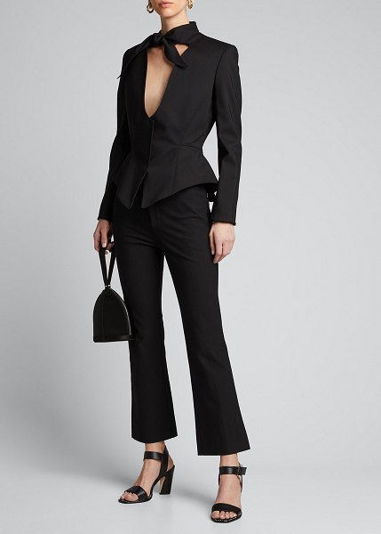 Mugler Knotted-Neck Peplum Jacket in black